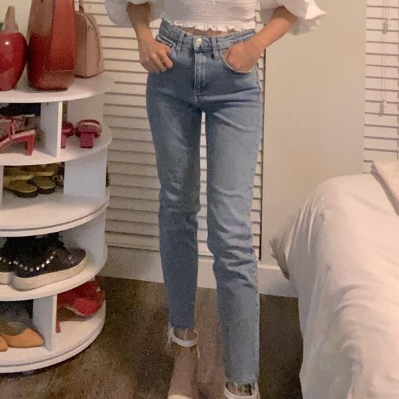 Zara straight leg blue jeans